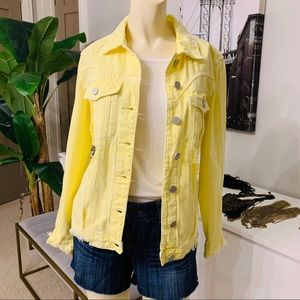 NEW Blank NYC distressed yellow jean jackets Sml